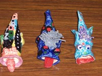 These fanciful tropical fish were made in a kiln given by the Foundation for elementary artists. - click for larger image